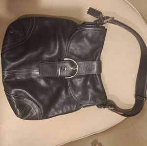 Coach Leather Buckle Shoulder Bag in Black G3S-948